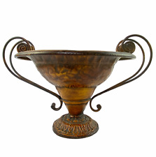 Hammered Metal Antiqued Bronze Orange Scroll Handle Pedestal Compote Fruit Decor
