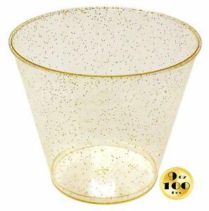 JL Prime 100 Gold Glitter Plastic Cups, 9 Oz Heavy Duty Reusable Disposable Cups