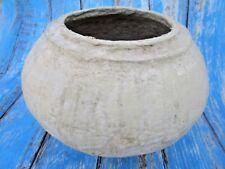 Vintage Old Large Rural Handmade Paper Mache Round Pot / Bowl T2