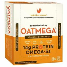 OATMEGA Chocolate Peanut Crisp Grass-Fed Omega-3 Whey Protein Bar BOX OF 12 BARS