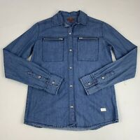 7 For All Mankind Women's Size Large Top Blue Denim Button-Down Zipper Pocket