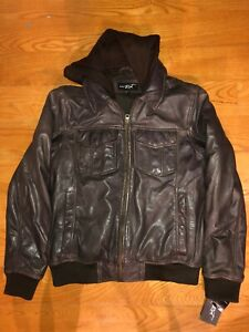 Black Rivet: Men's Genuine Leather Jacket M, With Hood, Brown, New with Tags