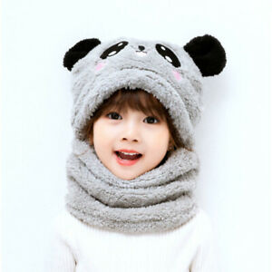 Child Winter Beanies Plush Hat Scarf Ear Protection All-in-one Bear Hat Girl Boy