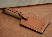travel luggage handbag baggage suitcase ID tag cow Leather handmade brown z834