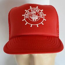 NOS Great River Road Red Trucker Snapback Hat Cap Mississippi River Steamboat