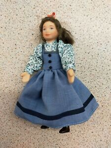 1/12th SCALE VICTORIAN GIRL DOLLS HOUSE DOLL IN A BLUE DRESS