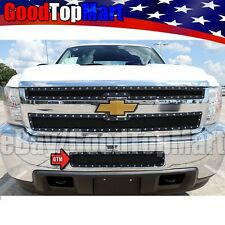 For Chevy Silverado HD 2500/3500 2011-2014 Black Mesh Rivet Bumper Grille BoltOn