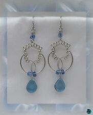 Earrings murano glass saya light blue silver of peruvian alpaca