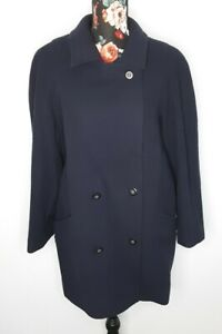 Pure New Wool Ladies Coat Size 14 Navy Short Fully Lined Vintage GB