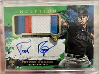 2021 INCEPTION TREVOR ROGERS ROOKIE PATCH AUTO /99 MIAMI MARLINS GREEN 4 COLOR