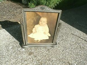 Vintage wood swivel wood picture frame with glass