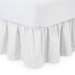 Harmony Lane Eyelet Ruffled Bed Skirt - with Platform (Available in all Sizes)