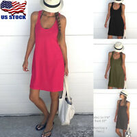 Summer Women Cotton Loose Vest Sleeveless Sundress Beach Dress Size S M L XL