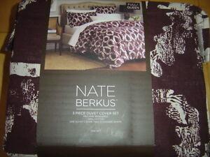 Nate Berkus Full / Queen Duvet Cover Set Reddish Brown w/ Tan Pattern - NEW