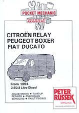 Citroen Relay Fiat Ducato peugeot Boxer Diesel Model to 2001 2.5 2.8 car Manual