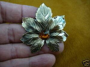 (b-leaf-10) Amber stone on textured maple leaf leaves tree brass pin pendant