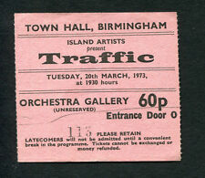 Original 1973 Traffic Steve Winwood concert ticket stub Town Hall Birmingham Uk