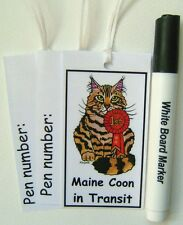 NEW! 3 x BENGAL CAT CARRIER TAGS & DRY WIPE PEN BY SUZANNE LE GOOD