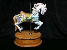 "1984 Willitts Designs 8"" Tall Carousel Horse Music Box Plays ""Carousel Waltz"" A2"