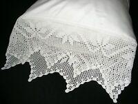 New White Cotton Sateen Hand Crochet PillowCases  Standard  Pair H1#