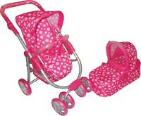 Baby Dolls 3 in 1 Pushchair Stroller Buggy Pram Pink White Dots Kids Girls Toy