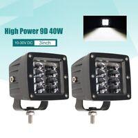 Car Work Light Bar 9D 80w 3 Inch Flood LED Beams DRL 12v 24v For Jeep Tractors