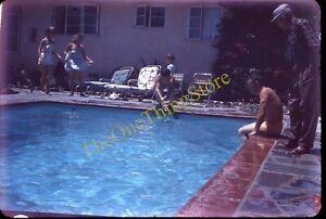 Swimming Pool Americana 1950s 35mm Slide Inground Family Vernacular