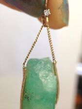 Natural Rough Untreated 20CT Colombian Emerald 14K Yellow Gold Pendant Charm