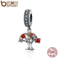 BAMOER S925 Sterling silver charm Dangle Fall Tree of life with CZ For bracelet