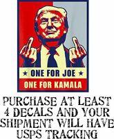 "Trump Bumper Sticker - One for Joe Biden one for Kamala Harris 6"" x 4"" Sticker"