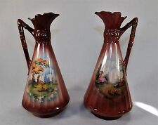 Pair of Matching Antique Czechoslovakian Ewers Scenic Landscapes Vases Pastoral