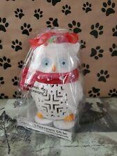 "Christmas Owl~ Ceramic Tealight 5-Piece Giftset~6"" Owl~ Mainstays~ Brand New"