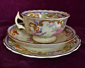 Antique Victorian China Tea Cup Saucer & Plate Trio 1890/91