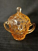 VINTAGE JEANETTE PINK DEPRESSION GLASS SUGAR BOWL w/ LID - DIAMOND PATTERN