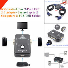 KVM Switch Box 2-Port USB 2.0 Adapter Control up to 2 Computers 2 VGA USB Cables