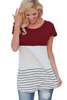 Women's Short Sleeve Striped Color Block Casual Blouse Dress Shirt Tee Tunic Top