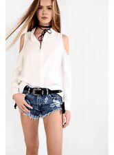 Glamorous White Cold Shoulder Shirt Size XS  rrp £25.00     SA078 DD 13