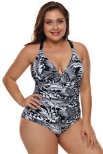 Estampado de la palma negro y blanco tallas grandes monokini traje de baño mujer