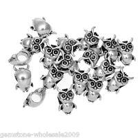 Wholesale Lots Silver Tone Owl Charm Beads Fit Charm Bracelet 10x15mm