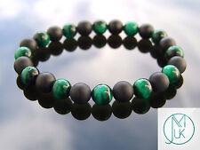 """TIGRI Verde Eye ONICE MATT Naturale Gemstone Bracciale Guarigione elasticizzati 7-8"""""""