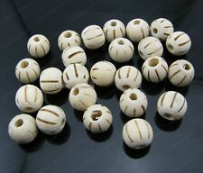 50Pcs 10MM white color wood pumpkin stripe round loose spacer Beads