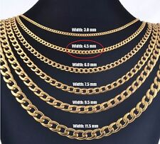 """4.5mm 16"""" Long Stainless Steel Curb necklace Link Chain Pendant Gold Tn STCR4.5G"""