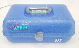 VTG Caboodles Jellies Metallic Blue GLITTER Makeup Case Organizer 2622 w/inserts