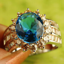 Champagne Blue Topaz Gemstone Fashion Jewelry Men Silver Ring Size 10 Free Ship