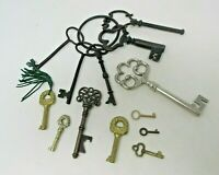 Lot of 13 Skeleton Home Decor KEYS Various Sizes Up To 4 Inches Ring Decorative