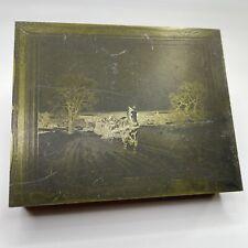 Vintage 1930s Winter Sleigh Ride Printing Press Metalwood Stamp Block Ink Plate