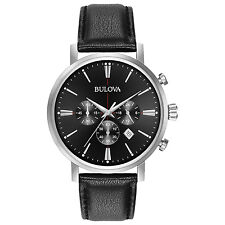 Bulova Men's 96B262 Chronograph Quartz Black Dial Leather Strap 41mm Watch