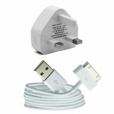 iPad 123 iPod iPhone4 4S 3G 3GS Charger + Genuine Apple USB Data Cable Wall Plug