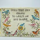 Thoreau Quote Embroidered Birds Nature Artwork 1976 Wall Hanging Cottage Core