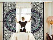 Indian Elephant Mandala Cotton Curtain Handmade Valance Door Window Curtain Set